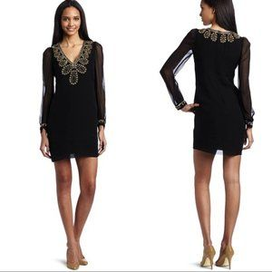 French Connection Beads Sequins V Neck Silk Dress